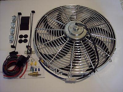 16 inch radiator cooling fan chrome super heavy duty motor relay thermostat kit