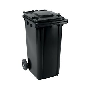 Set mit 1x DIN Mülltonne 80 Liter gelb und 1x DIN Mülltonne 240 Liter grau