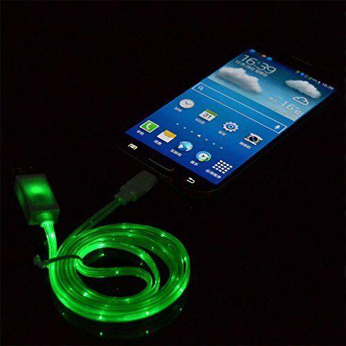 Wiko View Prime - 1m  Micro USB LED Datenkabel Ladekabel Handy Tablet GRÜN