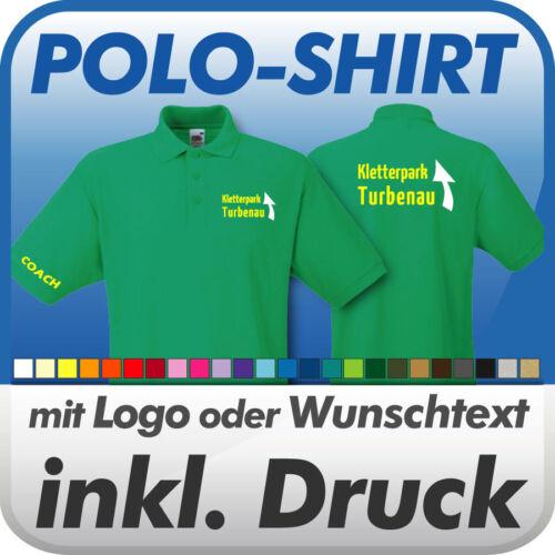 Wunschtext // Logo Druck Werbedruck inkl Fruit of the Loom POLO SHIRT maigrün