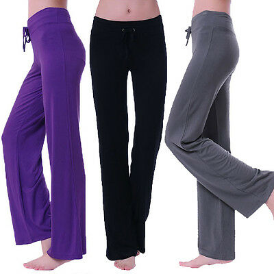 Womens NEW ladies Cotton Spandex Yoga Pilates Workout dance sport Pants
