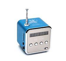 Blue Mini Digital Speaker FM Radio with Micro SD / TF / USB Music Box TD-V26 US