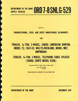 Ord 7-8 Snl G-729 Trailer Parts Manual Bantam T3 & Willys Mbt Reprnt