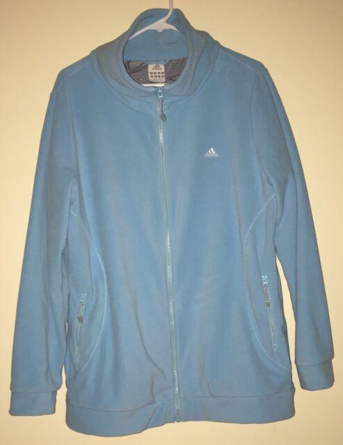 df4bceccd2db Adidas Fleece Jacket Women s X-Large Light Blue Zip Front Lightweight Nice