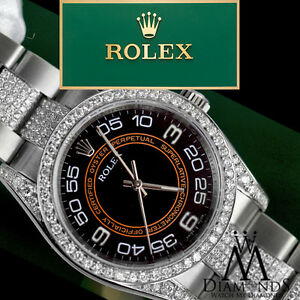 Details About Rolex Oyster Perpetual 116000 No Date 36mm Black Orange Dial Diamond Watch