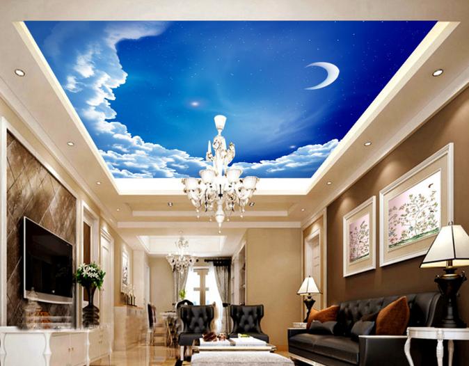 3D Clouds Moon Sky 788 Wall Paper Wall Print Decal Wall Deco AJ WALLPAPER Summer