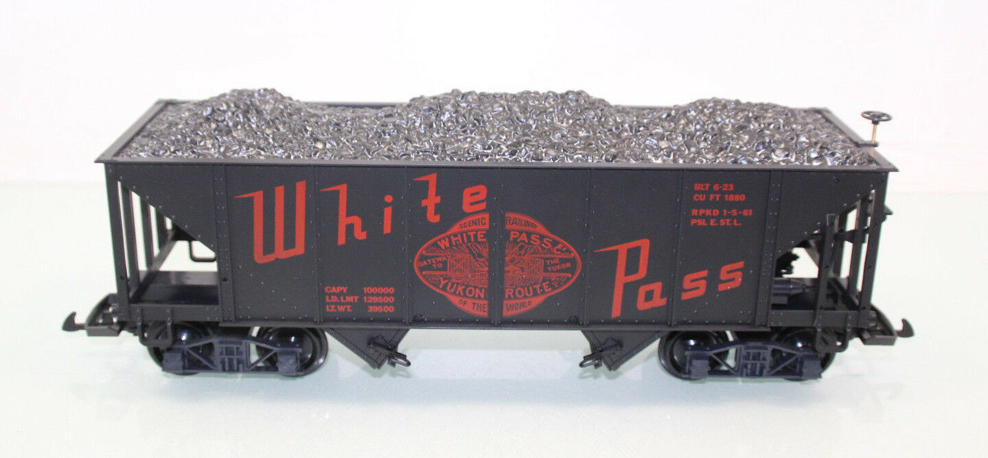 LGB 4076 w02 blanco pass & Yukon Railroad wp&yr Hooper con Cochega embalaje original (js3991)