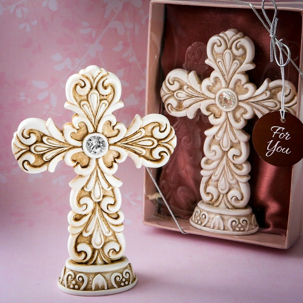 40 or Baroque Cross Statues Christening Baptism Shower Religious Party Favors