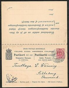 Finland covers 1898 10P PRIVATE stationery Double Card to Silkeborg
