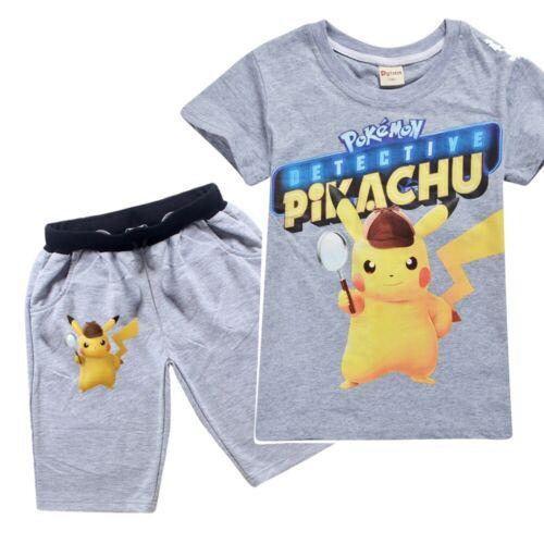 Nouveau DETECTIVE PIKACHU Garçons Filles Enfants Été Loisirs T-shirt pantalon pantalon ensembles