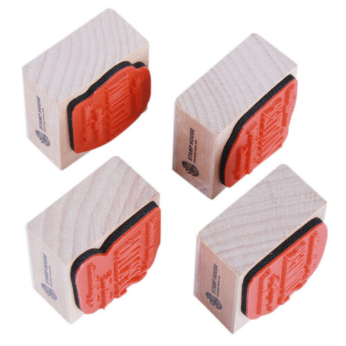 4Pcs Wooden English Scrapbooking Stamps Seal Stamp for Photo Album Diary one