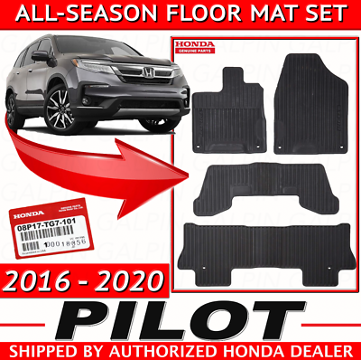 SMARTLINER All Weather Cargo Liner Floor Mat Behind 3rd Row Black for 2016-2018 Honda Pilot Factory Cargo Lid must be in the Top Position