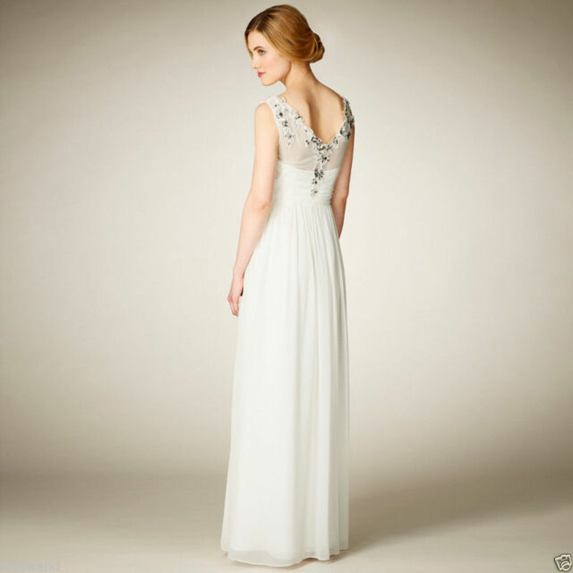 Coast Ivory Embellished Bridal Maxi Dress Bridesmaid Wedding Party 6 to 18 New