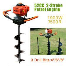52cc 24hp Gas Earth Auger Post Hole Digger Petrol Borer Amp 3 Drill Bits 4 6 8