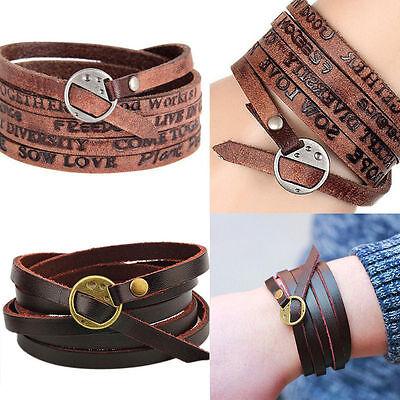 Women/Men Unisex Multilayer Leather Fashion Tribal Surfer Wrap Cuff Bracelet