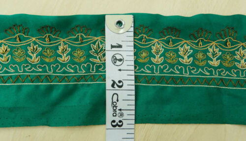 Vintage saree Border Indian Ribbon Green Style Embroidered Trim Sewing 1YD Lace