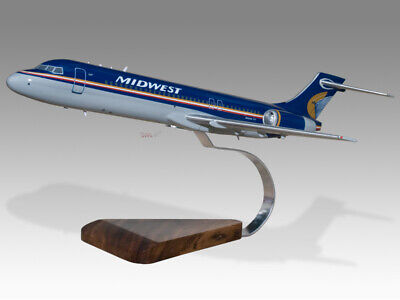 Considerate Boeing 717 Midwest Airlines Solid Dried Mahogany Wood Handmade Desktop Model Crease-Resistance Airlines