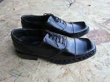 BLACK LEATHER MENS SHOES 11 SQUARE TOE OXFORD LACE UP LINING CASUAL FORMAL
