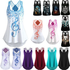 Women-Bandages-Sleeveless-Vest-Top-Musical-Notes-Print-Strappy-Tank-Top-Shirt-UK