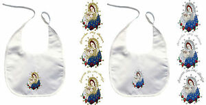 Baby Christening Baptism White Bib Wipe Gold Silver Embroidery Virgin Mary Pope