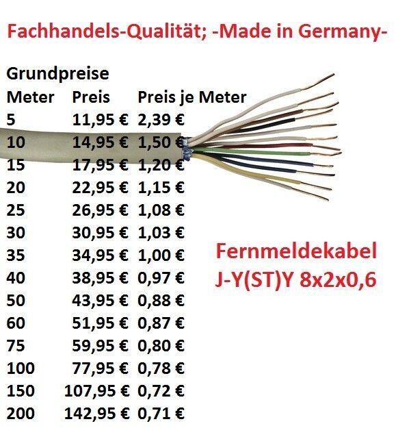 Fernmeldekabel Telefonkabel J-Y(ST)Y 8x2x0,6 grau -Fachhandelsqualität- | Eine Große Vielfalt An Modelle 2019 Neue