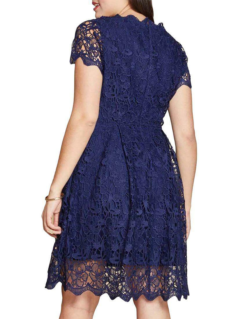 b726ec85b0c ... BNWT YUMI NAVY GUIPURE LACE FIT       FLARE DRESS SIZE RRP 9178dd ...