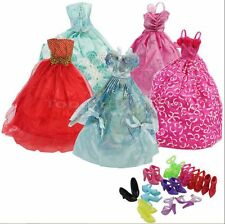 15 Items- 5Pcs Fashion Wedding Gown Dresses & Clothes 10 Shoes For Barbie Doll E
