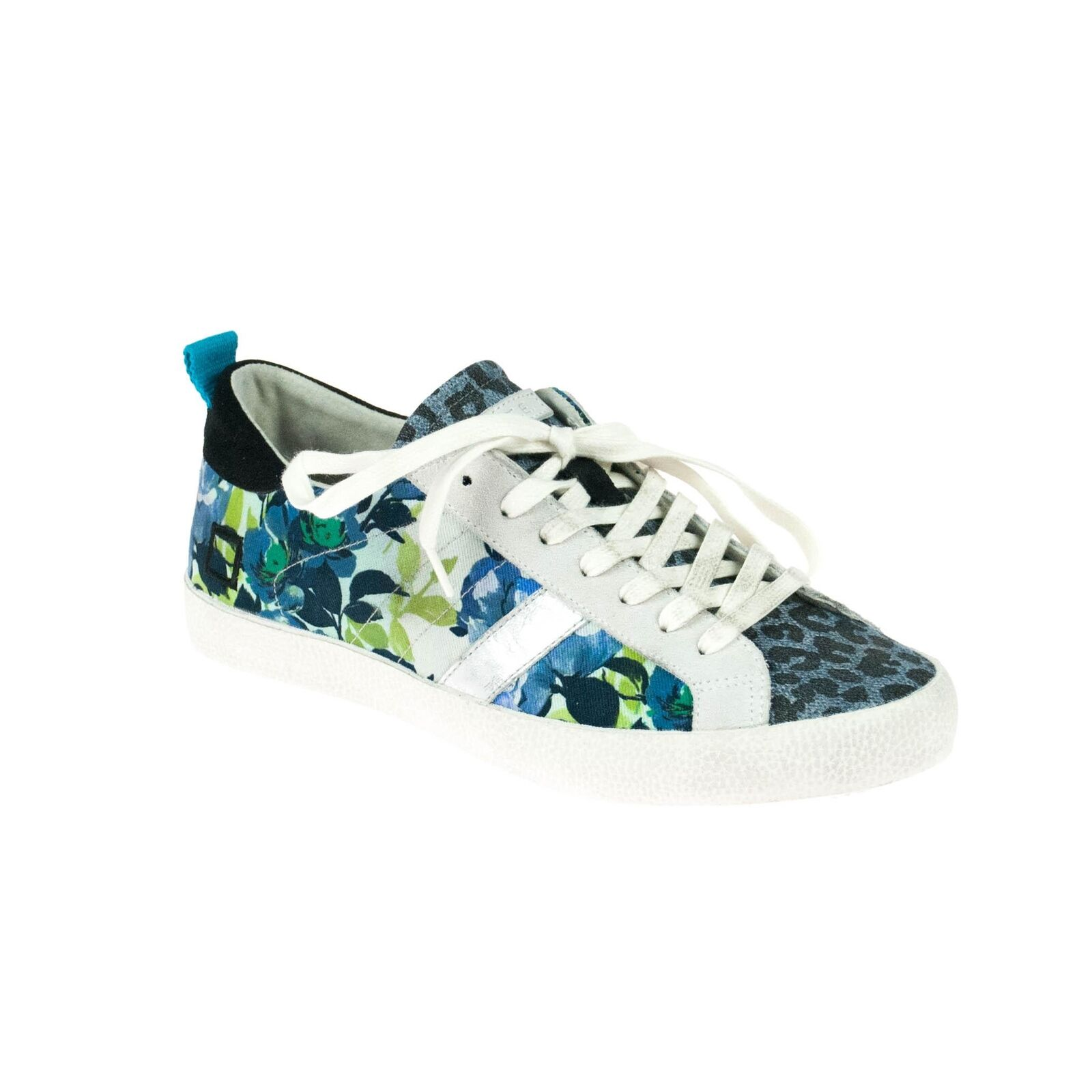 Date Damen Sneaker Blau Grün Weiß Blumenmuster