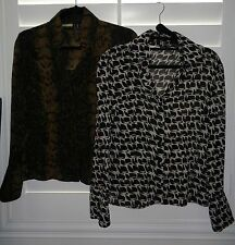 Lot of 2 INC Black Green Snakeskin & Black Beige Print Silk Career Tops Size 4P