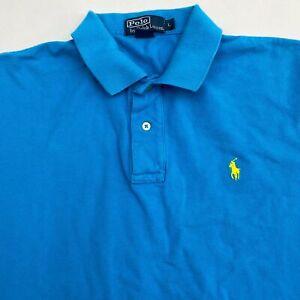 Polo Ralph Lauren Polo Shirt Men's Large Short Sleeve Blue High Low Hem Cotton
