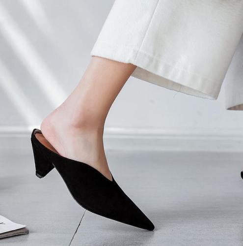 2018 Vogue Femme Bout Pointu Kitten Escarpins Dos-nu Mules Chaussures Printemps Sandales