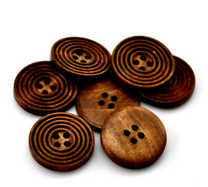 6 Concentric Circle Design Wooden Button Black 25mm 1inch