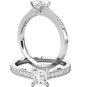 0.66 Ct Princess Real Moissanite Engagement Rings 18K Solid White Gold Size 9.5
