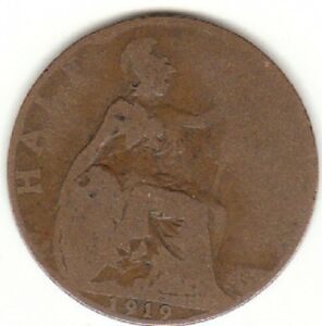 1919-Half-Penny-George-V-1-2d-Collectors-Coin-s