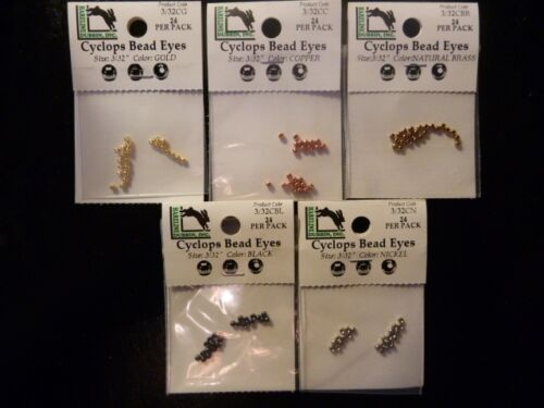 "CYCLOP LAITON Perles 3//32/"" fly tying PREMO qualité Nickel Gold Black cuivre laiton"