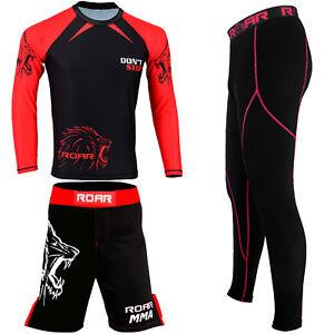 ROAR-New-MMA-Kick-Boxing-Shorts-BJJ-Rash-Guard-Compression-Legging-No-Gi-Gym-Set