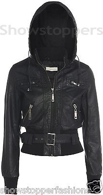 Size 8 10 12 14 16 NEW Womens JACKET FAUX LEATHER Ladies BOMBER Hooded coat