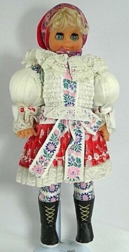 vintage vinyl doll traditional dress stand blond blueeyes lace embroidery scarf