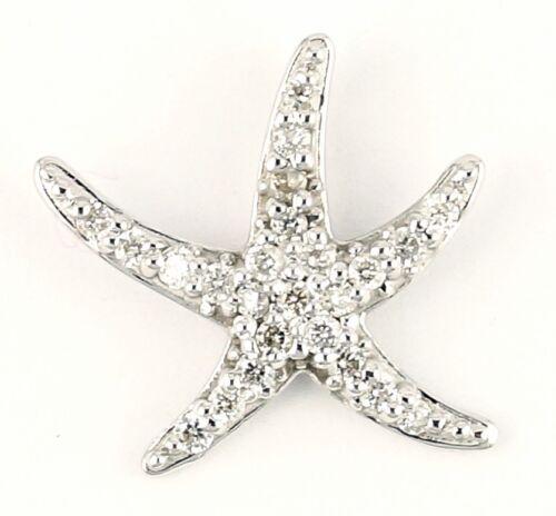 14k or Blanc Diamant étoile poisson Femmes Collier Pendentif Charme C14119