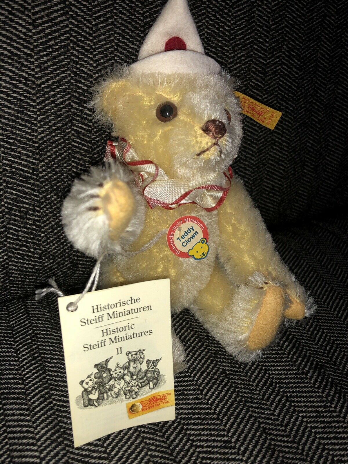 STEIFF CLOWN HISTORIC HISTORIC HISTORIC MINARURES II 2 MOHAIR TEDDY BEAR VINTAGE ANTIQUE TOY KIDS 7312ee