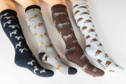 Ladies Welly Socks Cotton Rich Long Novelty Animal Wellington Boot Sock 4-7