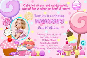 Details About Candy Pe Candyland Printable Birthday Party Invitation Free Thank U Card C