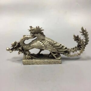 Chinese-Antique-White-copper-casting-phoenix-peony-Home-decoration