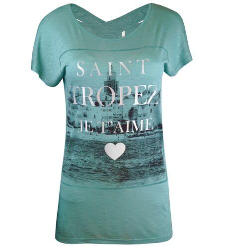 Only T-shirt Femmes onlbella SS Take//Tropez Top Box ESS tunique turquoise orange blanc