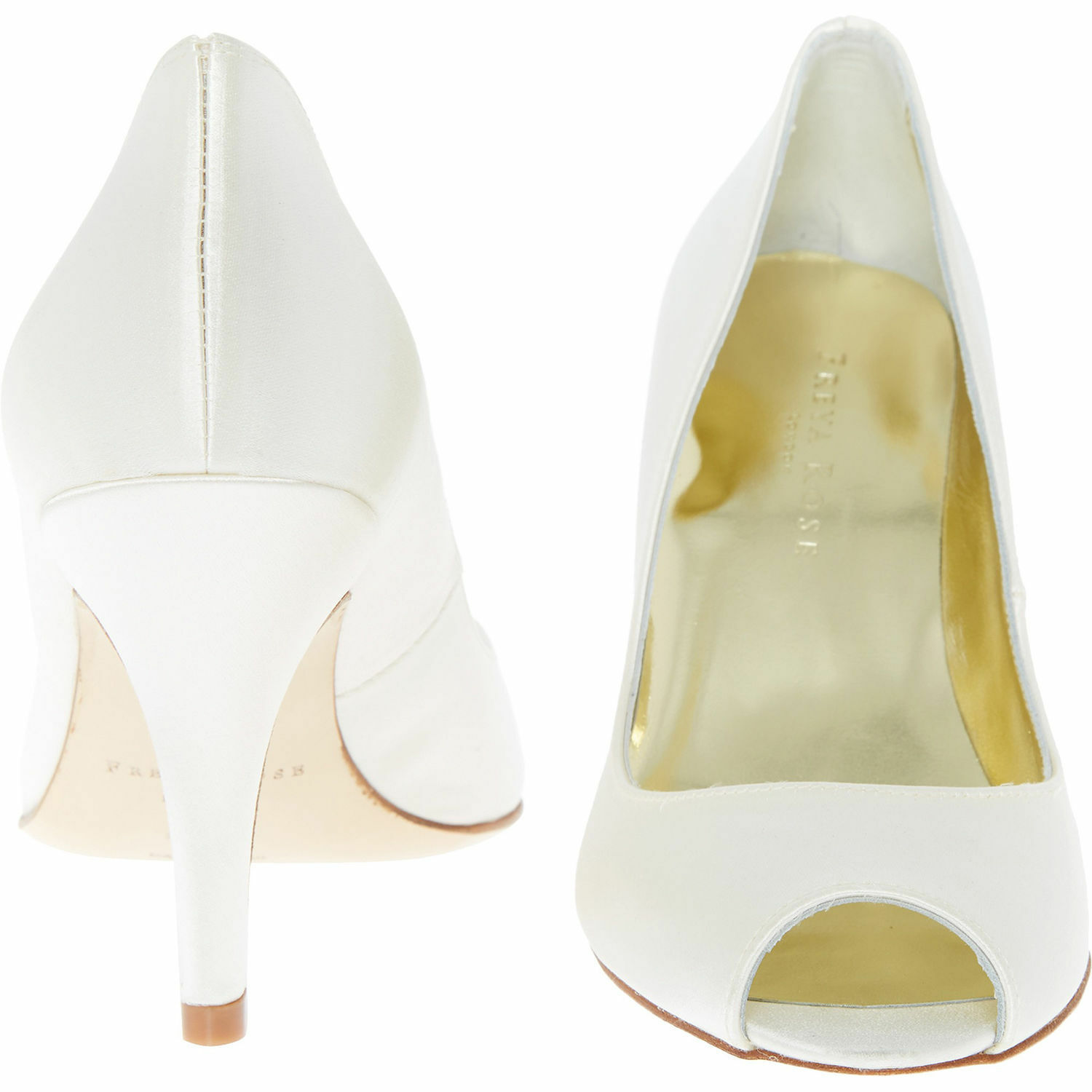 New FREYA ROSE Della Ivory Silk Weiß Weiß Weiß Satin Peep Toe Heels Evening Schuhes UK 2.5 564500