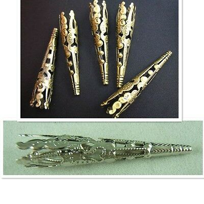 Hot Selling New 30Pcs 41mm Hollow Bead End Cap Cone Gold,Silver