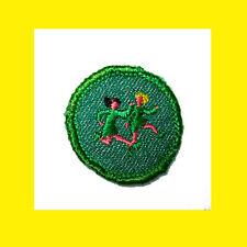 1950s Girl Scout Badge World GAMES Rare Light Border, Running Race Multi=1 Ship