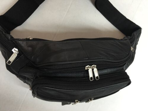 MENS LADIES LEATHER EXTRA LARGE FANNY PACK//WAISTBAG BLACK LAST FEW