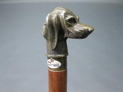 Edler Bronze Holz Sammler  Gehstock Wanderstock  Spazierstock Hund  95 cm Dackel