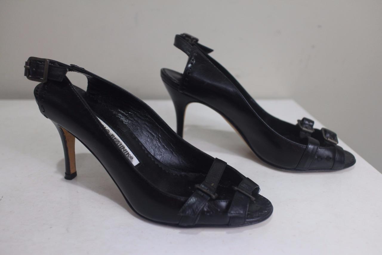 MANOLO BLAHNIK double buckle slingback heel shoe 35.5 35.5 35.5 5.5 (tac600 f6b6f7